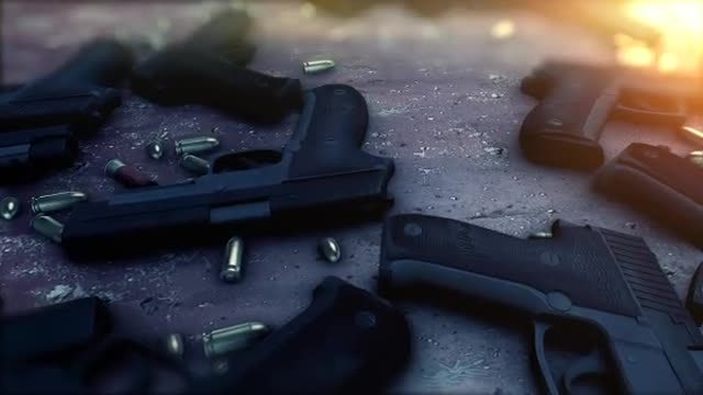 Pistol Gun And Bullets Backgrounds: Stock Motion Graphics