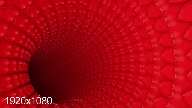 3D Heart Tunnel: Stock Motion Graphics