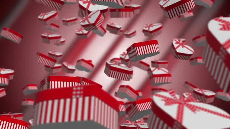 Valentines Gift Boxes Floating: Stock Motion Graphics
