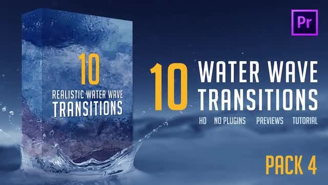 Water Wave Transitions Pack 4: Premiere Pro Templates