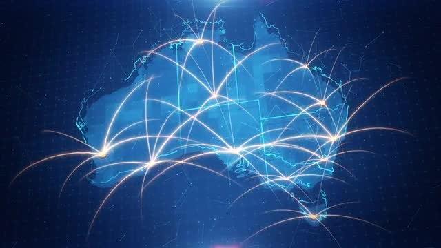 Australia Map Connection 4K: Stock Motion Graphics
