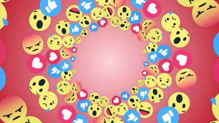 Emoji Rings Icon Faces Background: Stock Motion Graphics