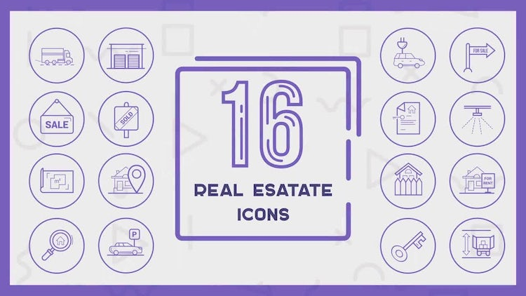 16 Real Estate Icons: Motion Graphics Templates
