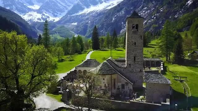 Church In Italian Alps: Stock Video