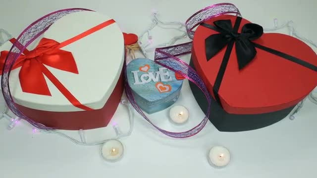 Heart-Shaped Gift Boxes: Stock Video