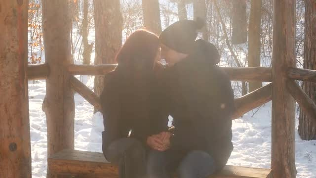 Couple In Wooden Gazebo: Stock Video