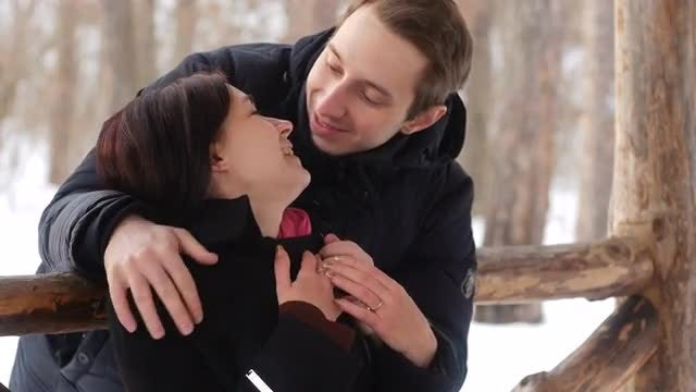Couple In Snowy Outdoors: Stock Video