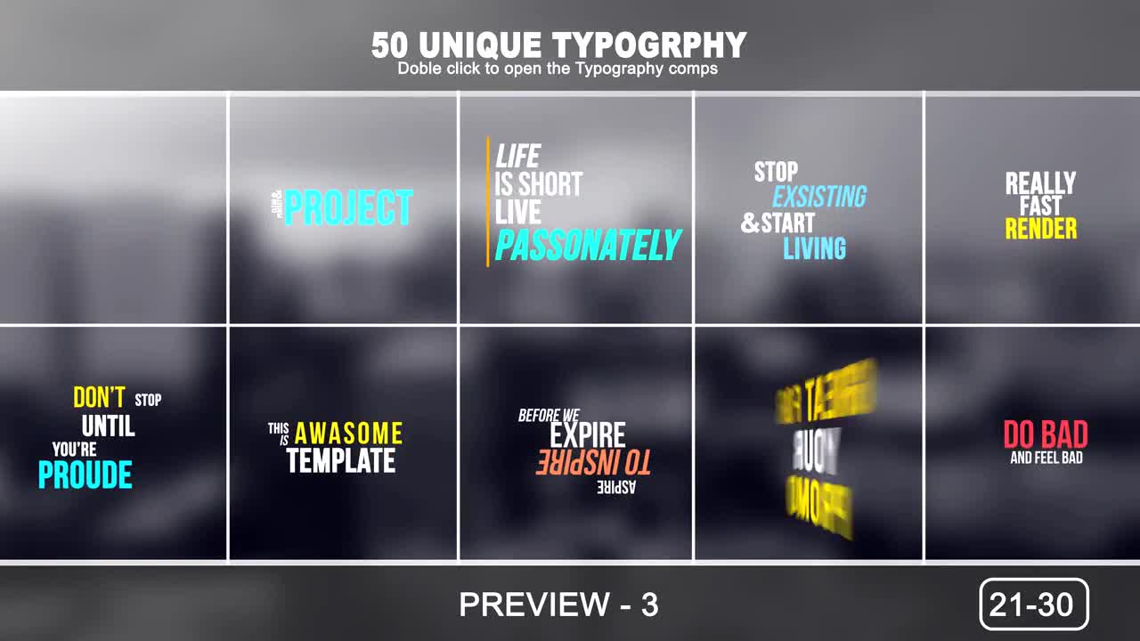 50 Unique Typography - After Effects Templates | Motion Array