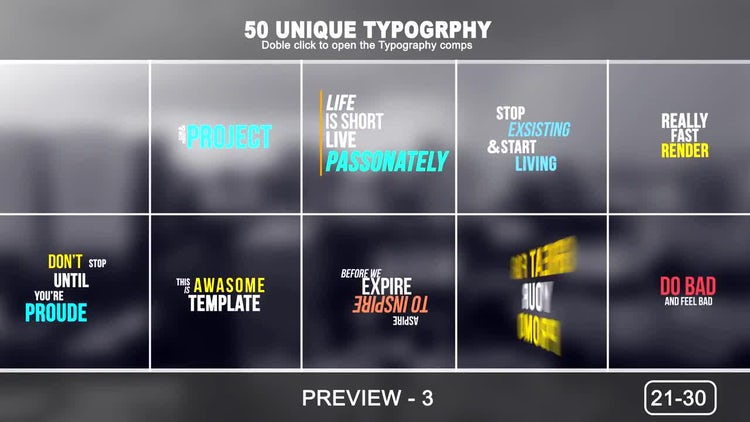 50 Unique Typography: After Effects Templates
