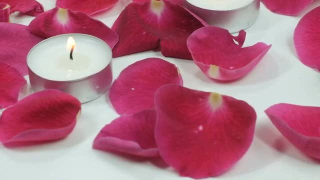 Rose Petals And Candles: Stock Video