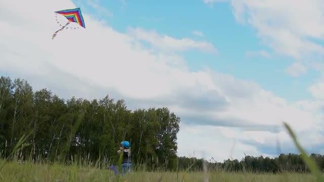 Boy Flying Kite: Stock Video