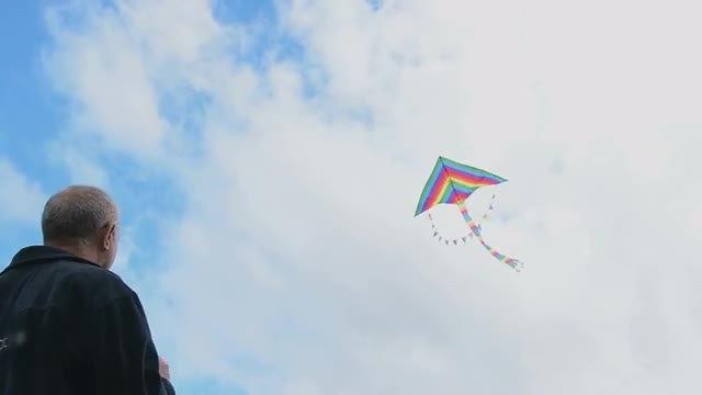 Senior Man Flying Kite: Stock Video