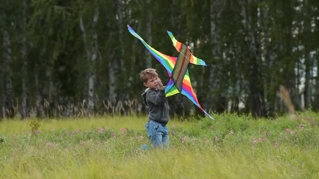 Kid With A Kite: Stock Video