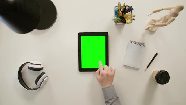 Man Scrolling On Tablet: Stock Video