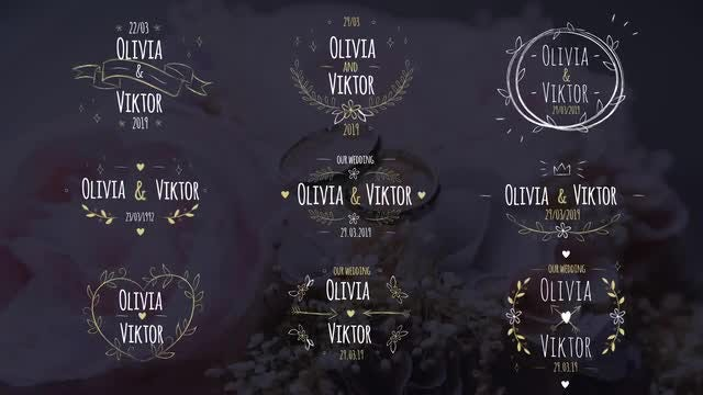 9 Lovely Hand Drawn Wedding Titles: Motion Graphics Templates
