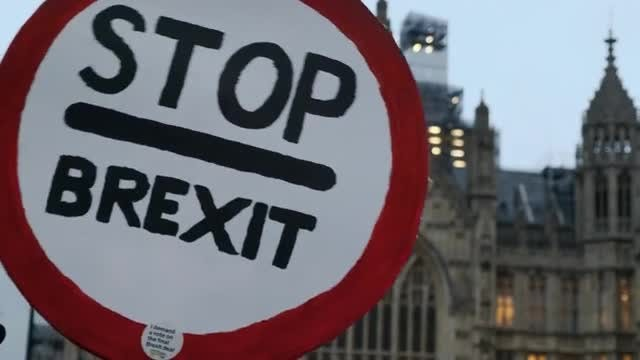Stop Brexit Signpost: Stock Video