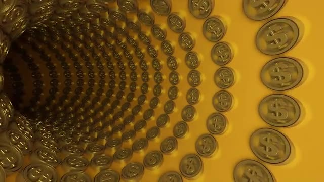 3D Dollar Coins Tunnel: Stock Motion Graphics