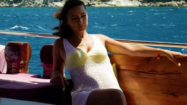 Girl On A Boat: Stock Video