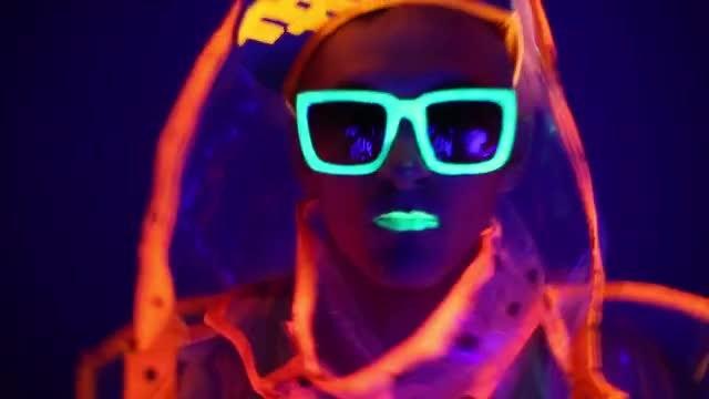 Neon Guy In Glasses: Stock Video