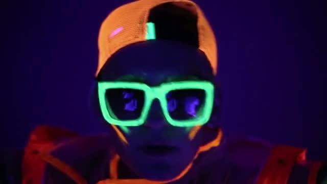 Male In Neon Costume: Stock Video
