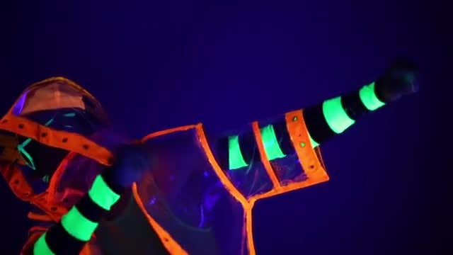 Guy In Neon Costume: Stock Video