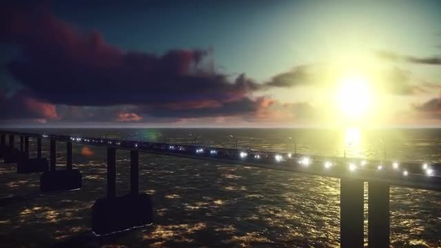 Traffic Jam Over Ocean Bridge: Stock Motion Graphics
