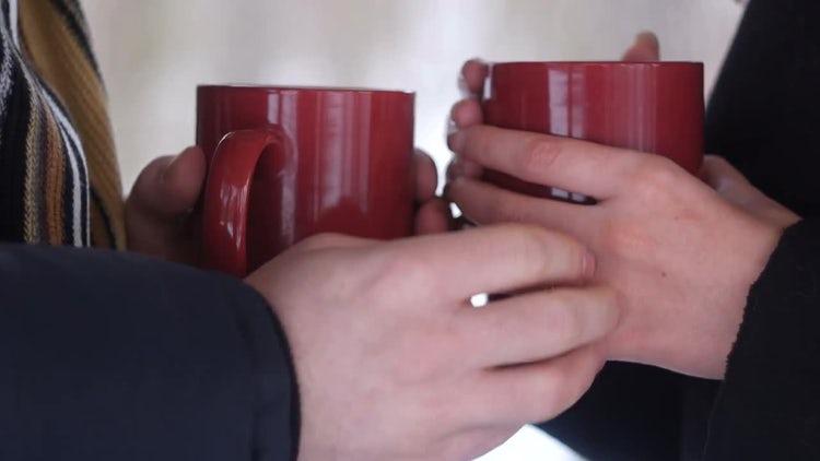Couple Drinking Hot Tea: Stock Video