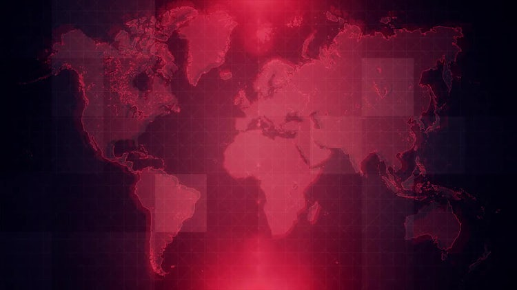 4K Red Map Background Loop: Motion Graphics