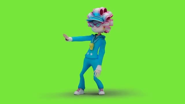 Woman In Curlers Dancing Hiphop: Stock Motion Graphics