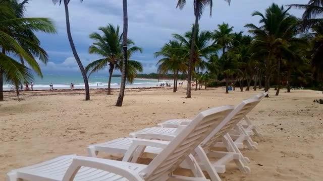 White Beach Chairs: Stock Video