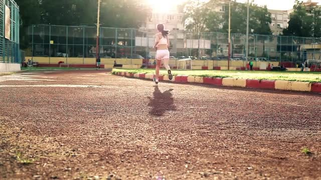 Track Running Outdoors: Stock Video