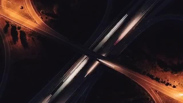 Night Traffic Aerial: Stock Video