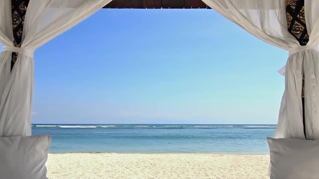 Beautiful Beach Gazebo: Stock Video