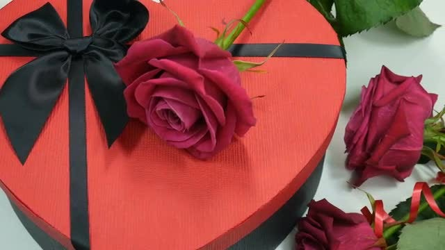 Red Rose On Gift Box: Stock Video