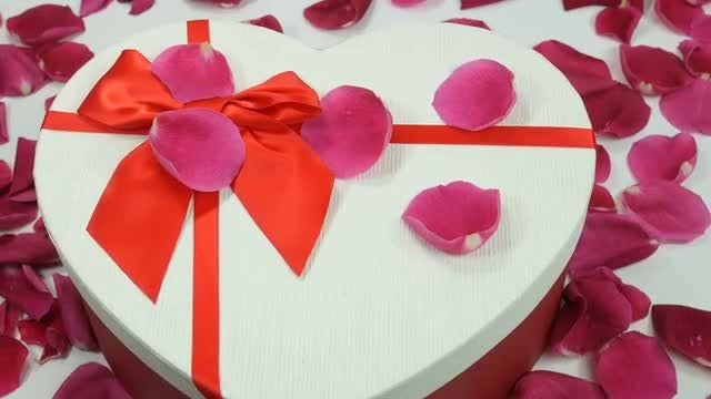 Rose Petals On Gift Box: Stock Video