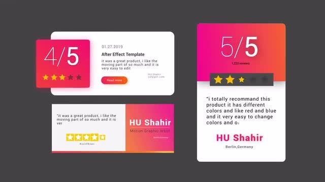 Modern Review Card V2: Motion Graphics Templates