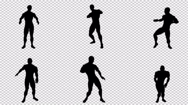 Black Silhouette Of Dancing Man: Stock Motion Graphics