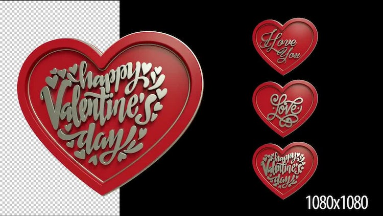 Love Engraving 3D Hearts Pack: Stock Motion Graphics