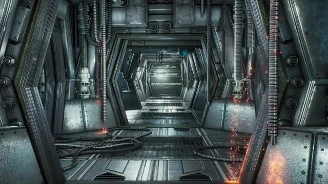 Flight Through Futuristic Sci-fi Tunnel: Stock Motion Graphics