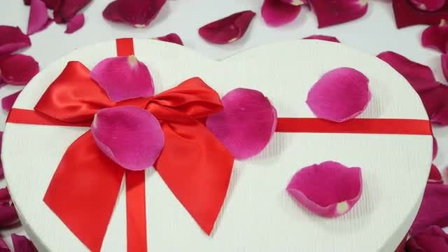 Rose Petals And Gift Box: Stock Video