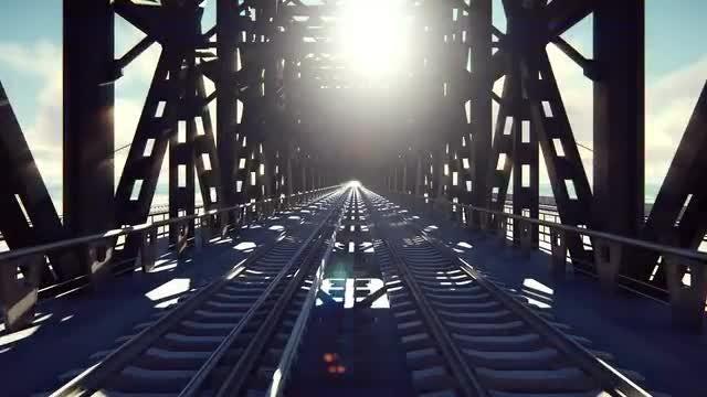 Railway Bridge On Sunny Day: Stock Motion Graphics