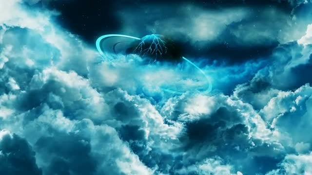 Planet With Rings Behind Clouds: Stock Motion Graphics