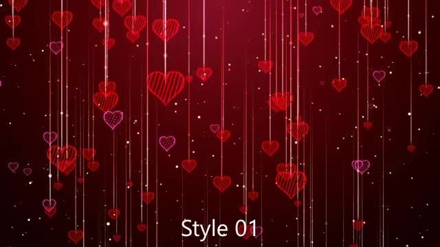 Romantic Hearts And Heart Strings: Stock Motion Graphics