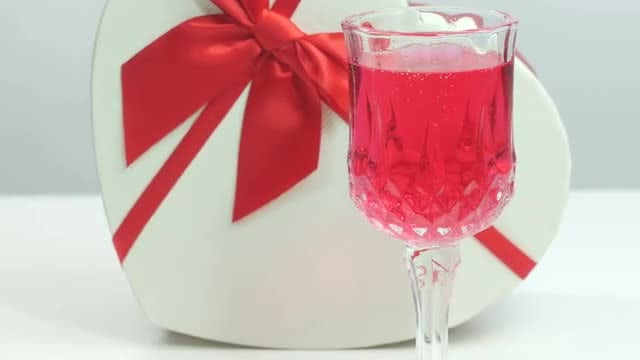 Valentine's Day Wine And Gift: Stock Video
