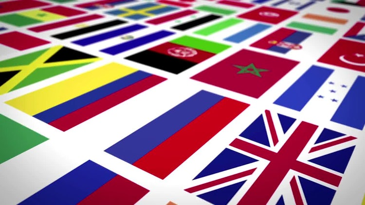 World Flags Background: Stock Motion Graphics