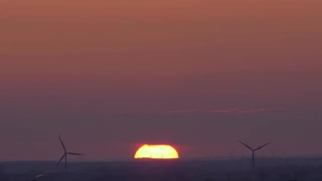 Wind Turbines And Sunset: Stock Video