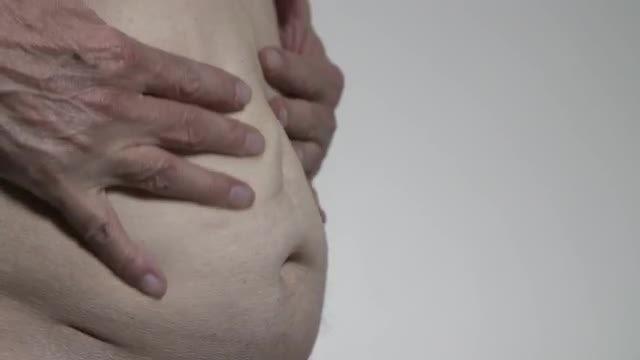 Mature Man's Stomach: Stock Video
