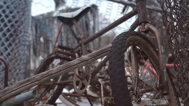 Bike In A Junkyard: Stock Video