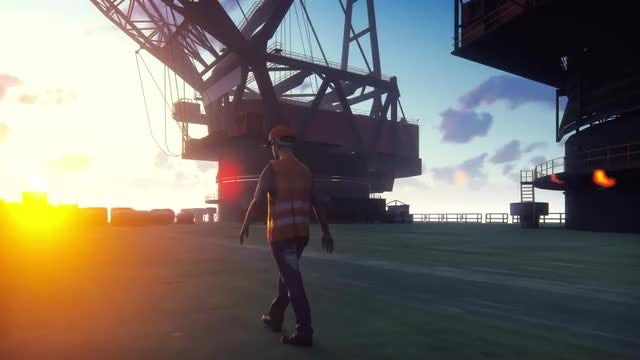 Oil Worker Readying At Sunrise: Stock Motion Graphics