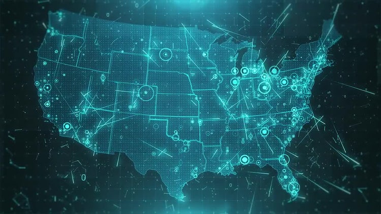 USA Map Background Cities Connections 4K: Motion Graphics